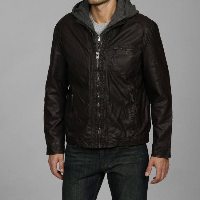 abceeaffd Perry Ellis Men's Faux Leather Hooded Jacket