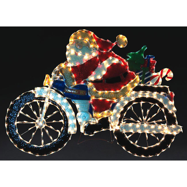 Motorcycle Santa Holiday Lawn Decoration