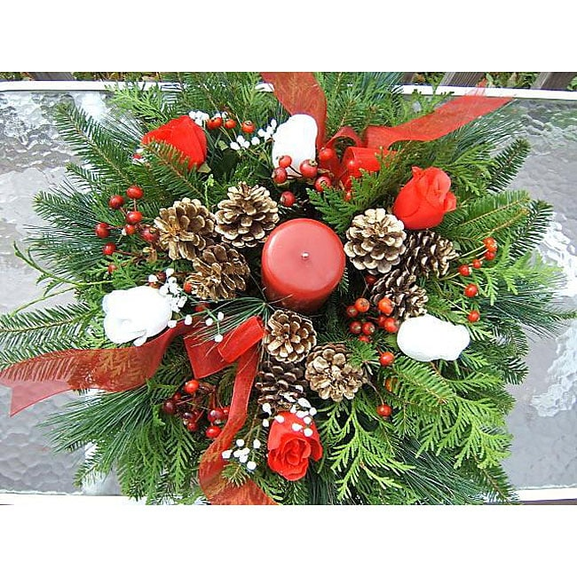 Fresh balsam rose holiday centerpiece free shipping on