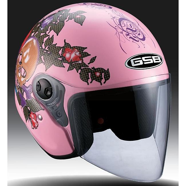 Shop Gsb Women S Pink Open Face Heart Breaker Motorcycle Helmet