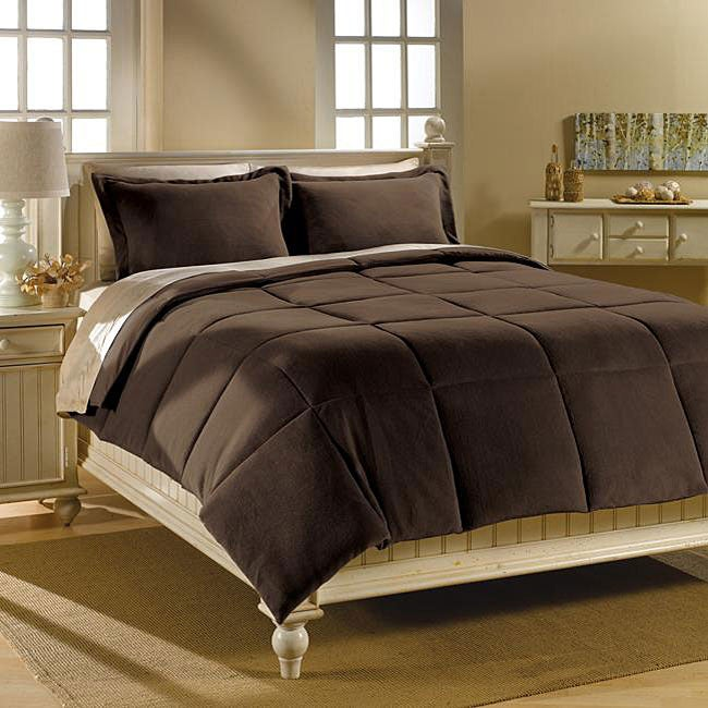 dark brown microplush down alternative comforter and sham set