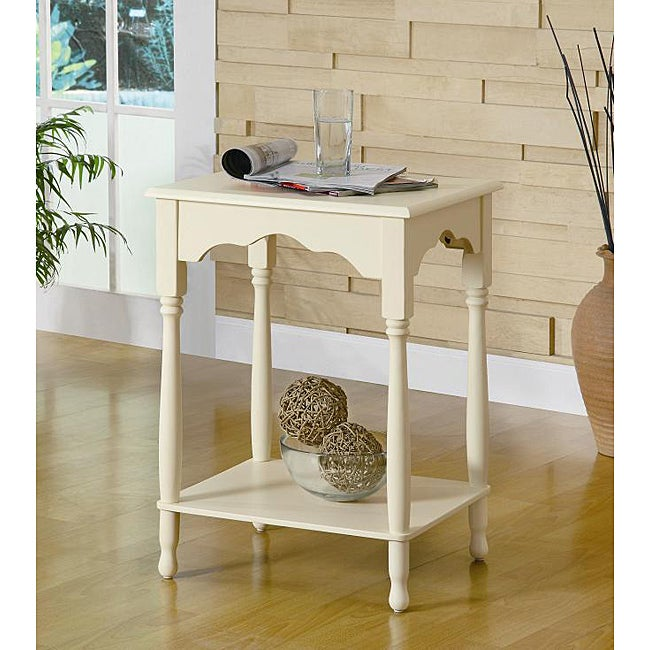 Rayon Antique White Wood Table