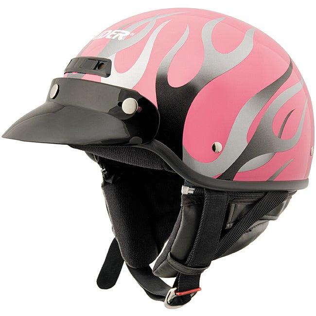 Raider Deluxe Pink 'n' Flame Half Helmet