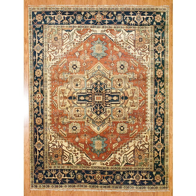 Shop Indo Hand Knotted Serapi Rust Blue Wool Rug 8 X 10