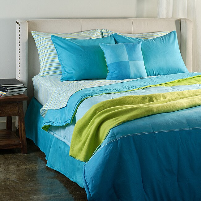 color block bedroom blue colorblock bed in a bag with sheet set free 11152