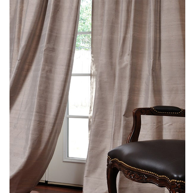 Exclusive Fabrics Signature Warm Grey 96-inch Textured Silk Curtain Panel