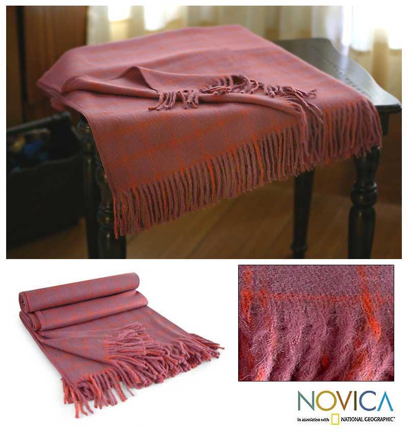 'Cozy Purple' Alpaca Wool Throw Blanket (Peru)