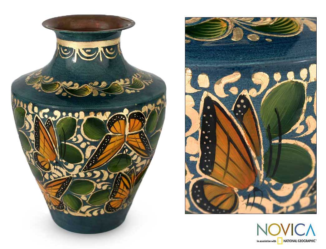 Copper and Gold Leaf 'Gifts Of The Monarch Butterfly' Vase (Mexico)