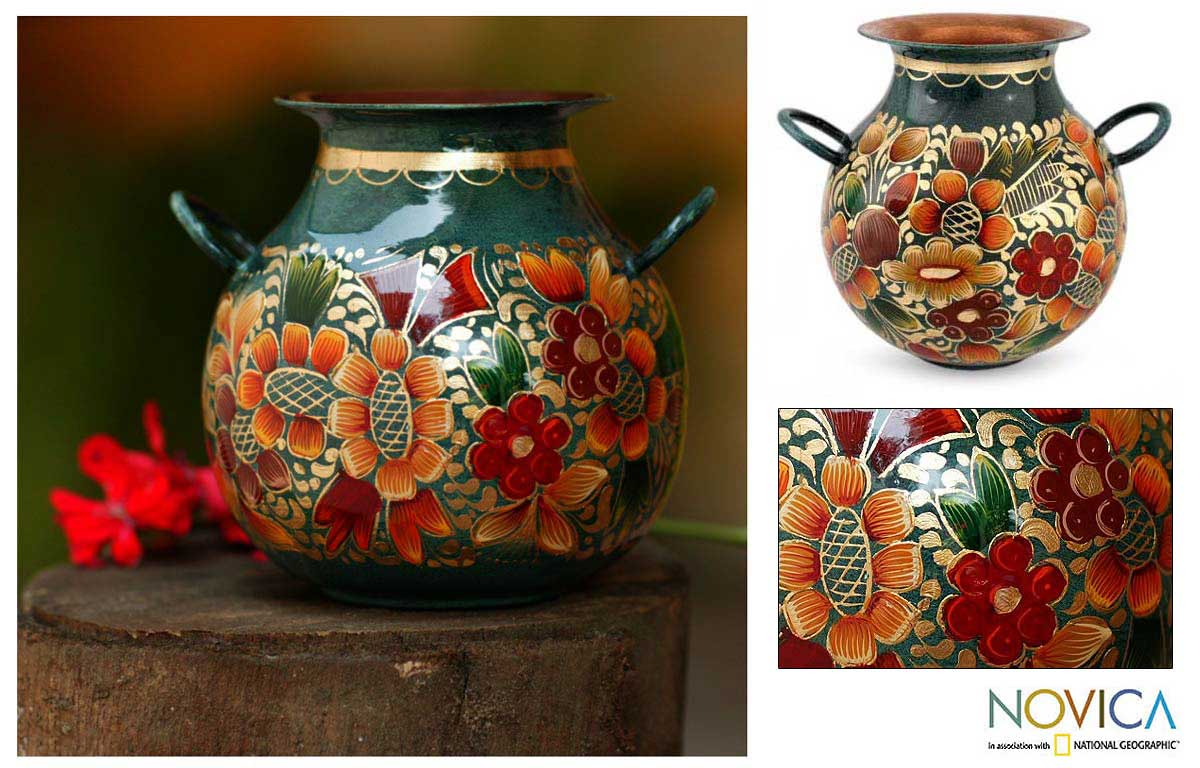 Copper and Gold Leaf 'Floral Rainbow' Vase (Mexico)