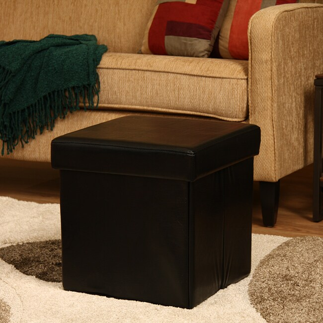 Ann Black Faux Leather Storage Ottoman