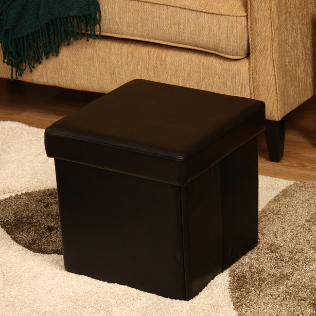 Ann Faux Brown Leather Storage Ottoman - Thumbnail 0