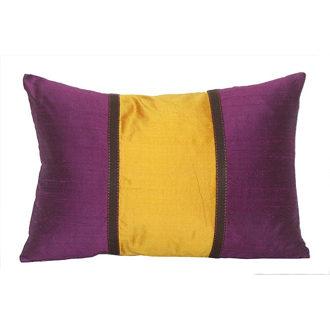 Silk Purple and Orange Decorative Pillow