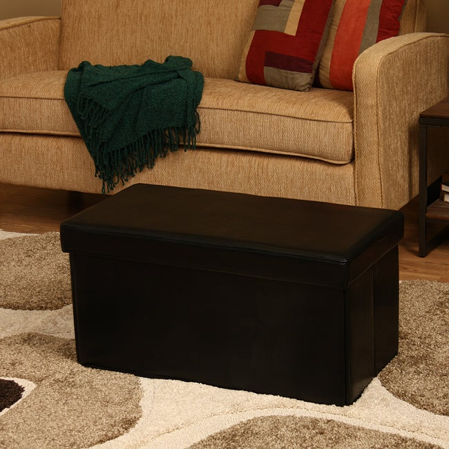 'Kirstina' Black Faux Leather Storage Ottomans (Set of 2)
