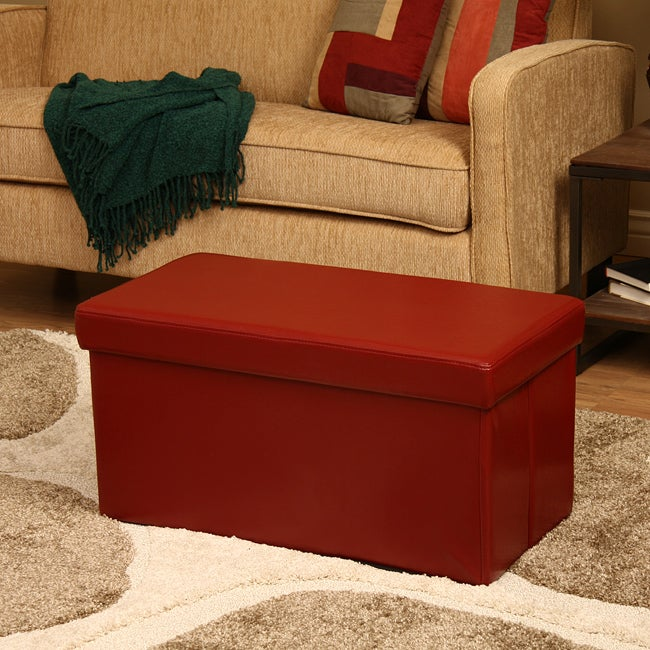 'Kirstina' Red Faux Leather Storage Ottoman (Set of 2)