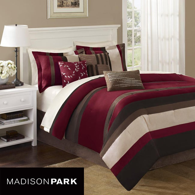 Madison Park Boulder Stripe 7-piece King/Cal-King Comforter Set