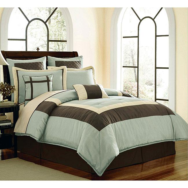 Thumbnail Classic Blue/ Brown 8 Piece Comforter Set