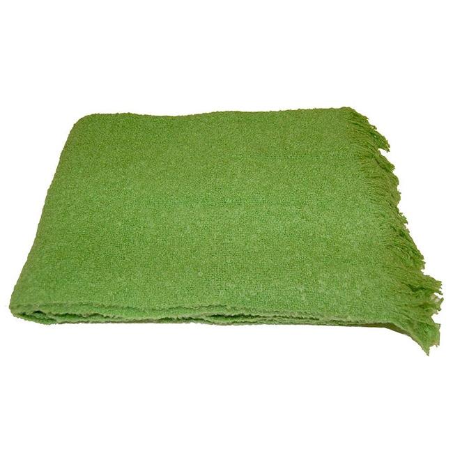 Alpaca Blend Green Throw Blanket (India)