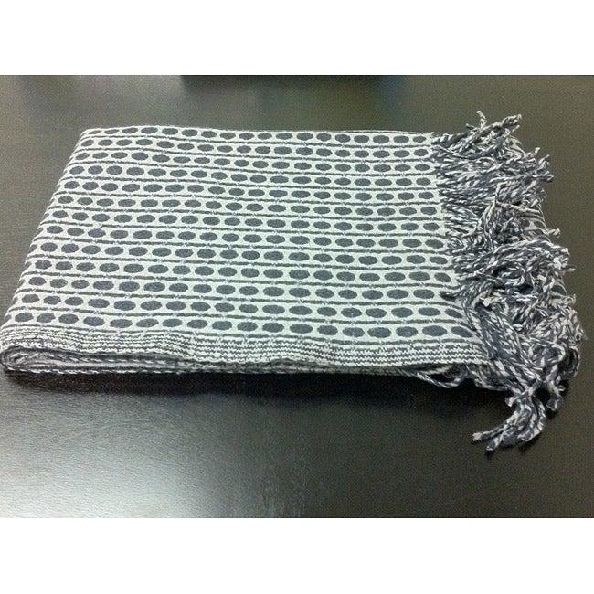 Wool Grey and Black Polka Dots Throw (India)