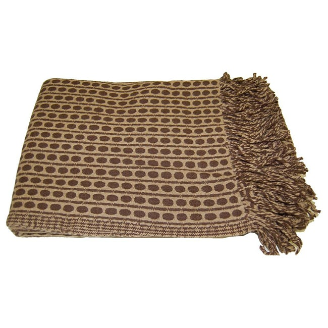 Wool Chocolate Brown Polka Dots Throw (India)