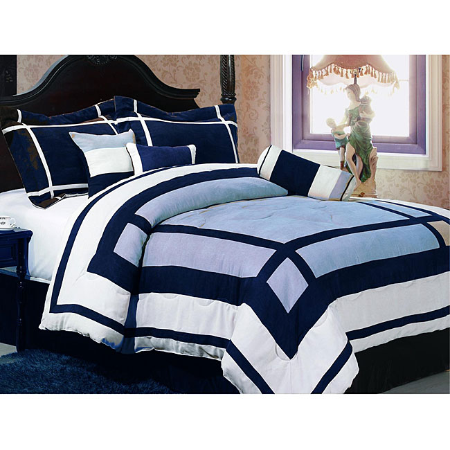 Metro Blue Suede 7-piece Comforter Set