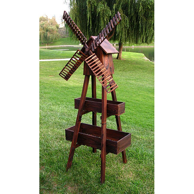 Brown Cedar Wood Outdoor Windmill Planter Free Shipping