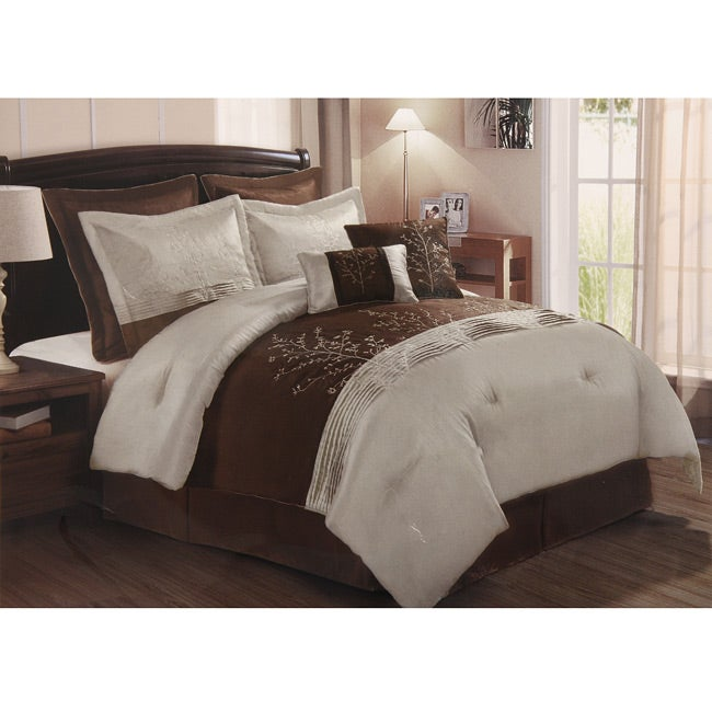 Harmony 8-pc Chocolate/Taupe Queen-size Comforter Set