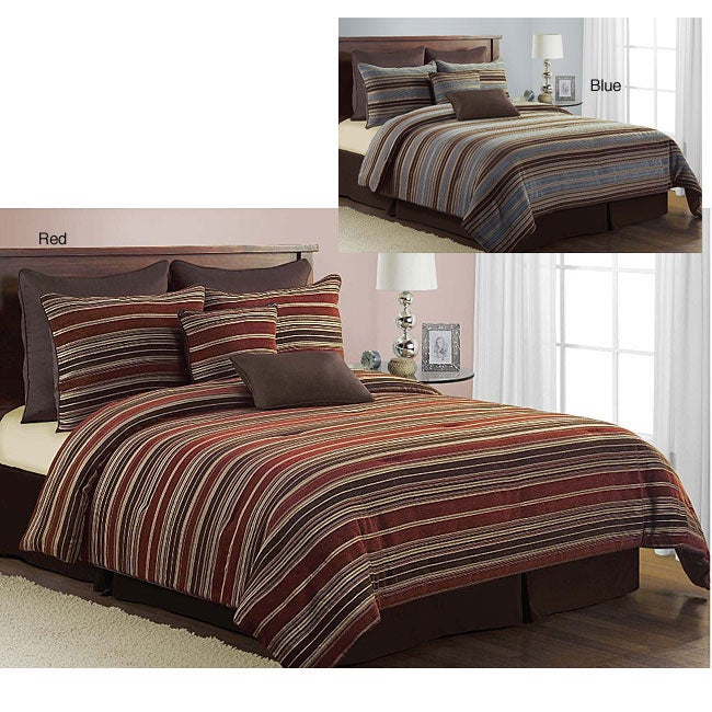 Chenille Stripe 8-piece Comforter Set