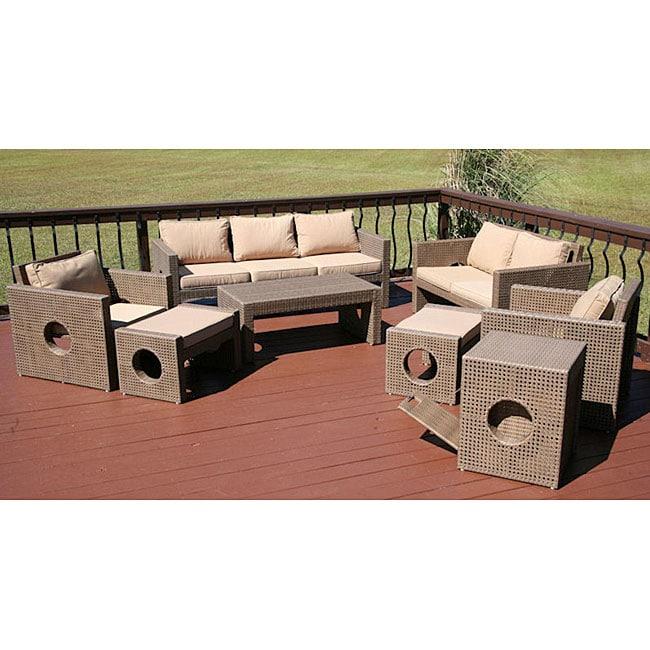 Savannah Outdoor St Clair 9 Piece Wicker Patio Furniture Set