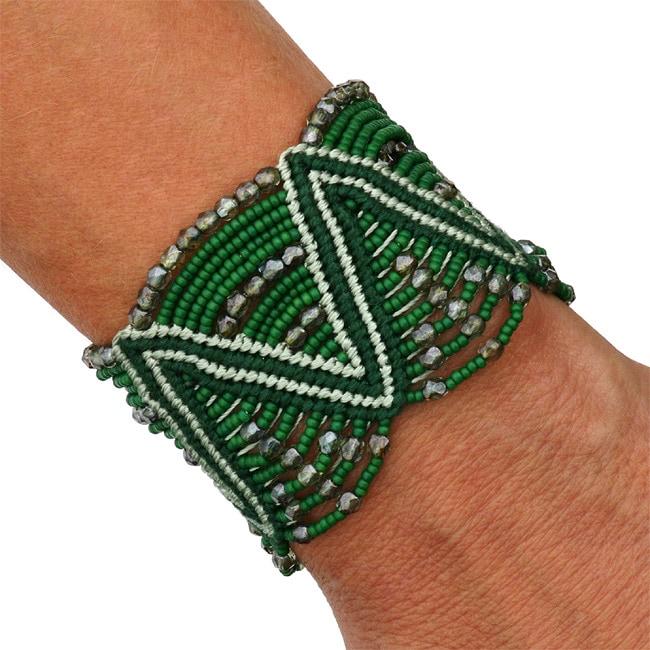 Cotton Princesa Glass/ Crystal Laurel Leaf Macrame Bracelet (Guatemala)