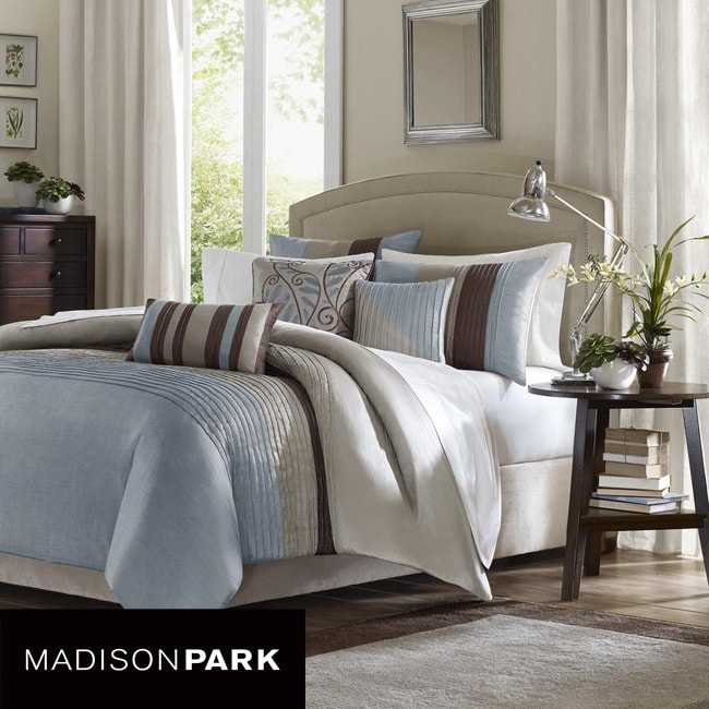 Madison Park Salem Blue 6 Piece King Size Duvet Cover Set