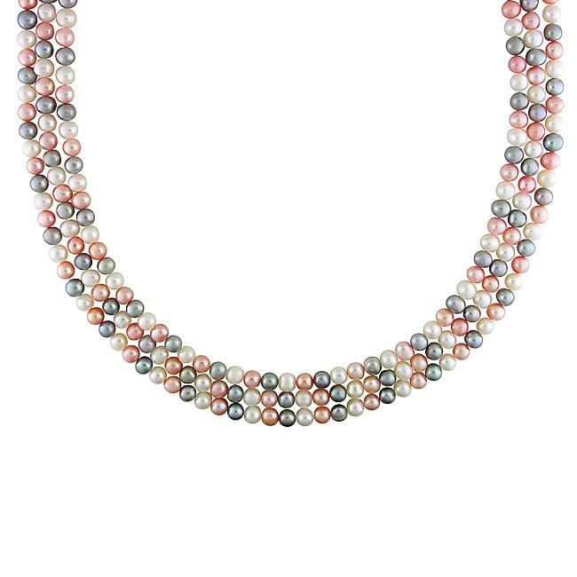 Miadora New York Pearls Multi-color FW Pearl Necklace (6-6.5 mm)