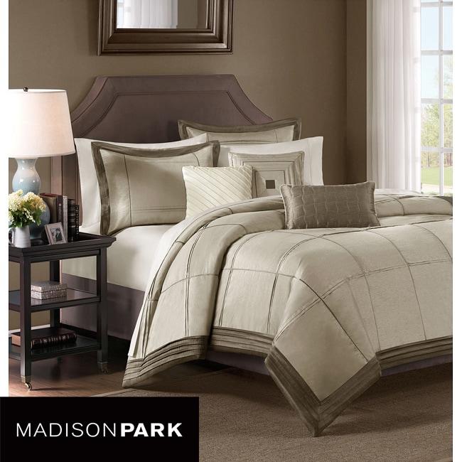 Madison Park Cascade Taupe 6-piece Queen-size Duvet Cover Set
