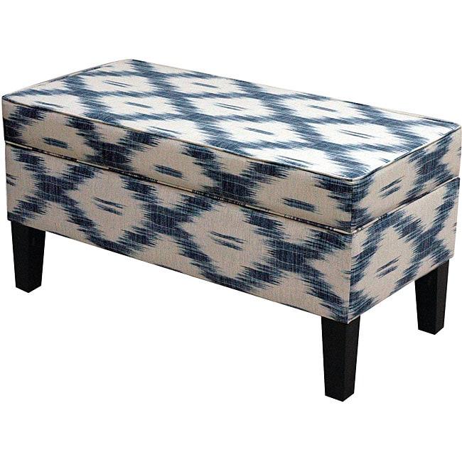 Made To Order  Jenny Santa Fe Blue Upholstered Storage Bench