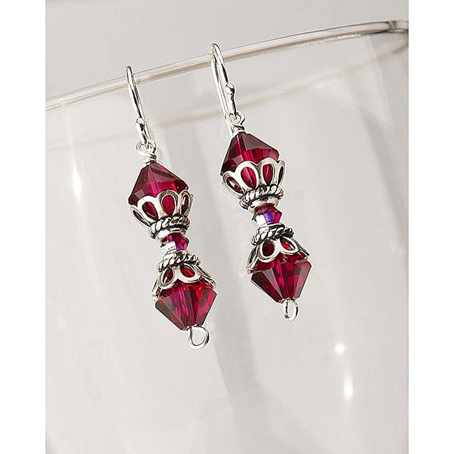 Classic Sterling Silver Victorian Era Ruby Crystal Earrings