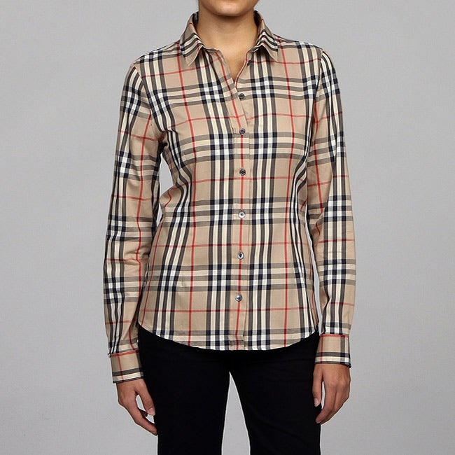 Burberry women 39 s plaid long sleeve button down shirt for Plaid button down shirts for women