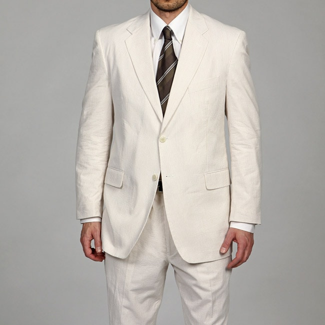 Adolfo men 39 s tan white 2 button seersucker suit final sale for Mens seersucker shirts on sale