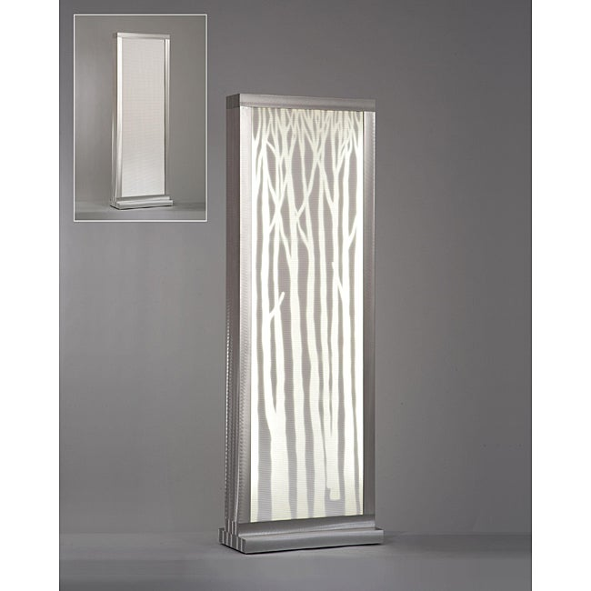 Birch Trees Silhouette Screen 2 Light Silver Lamp Free