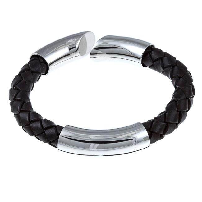 Kabella Gerald David Bauman Stainless Steel Braided Leather Bracelet