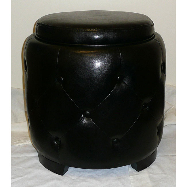 Black Round Bicast Leather Storage Flip Top Tray Ottoman
