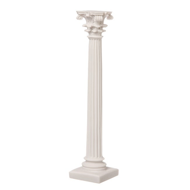 White Bonded Marble Slender Corinthian Column Sculpture