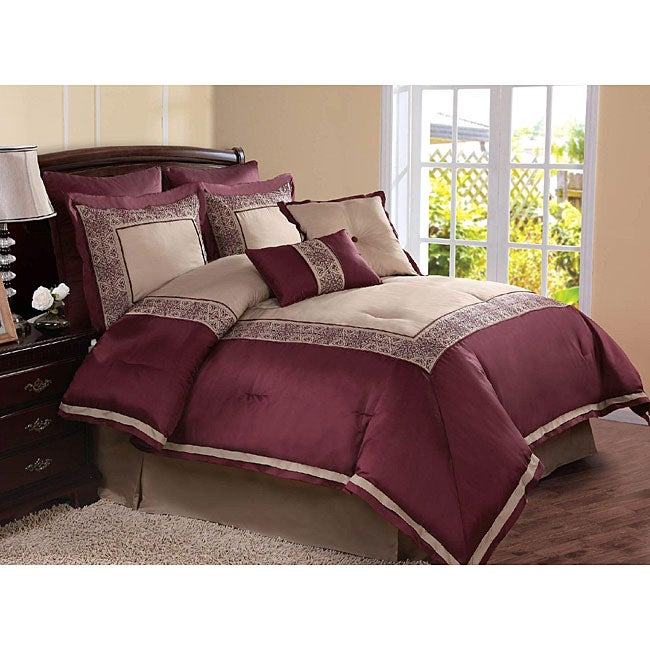 Plum/ Taupe 8-piece Comforter Set