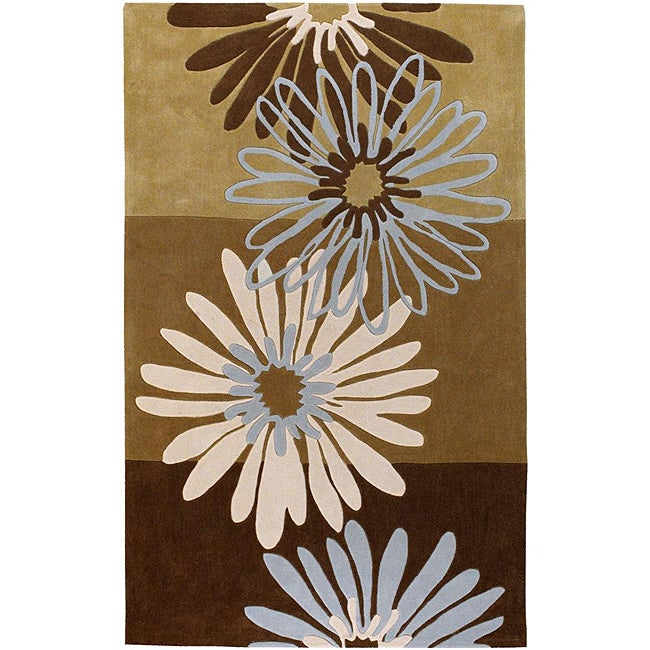 Hand-tufted Contemporary Brown Cosmopolitan Green Abstract Rug (8' x 11')