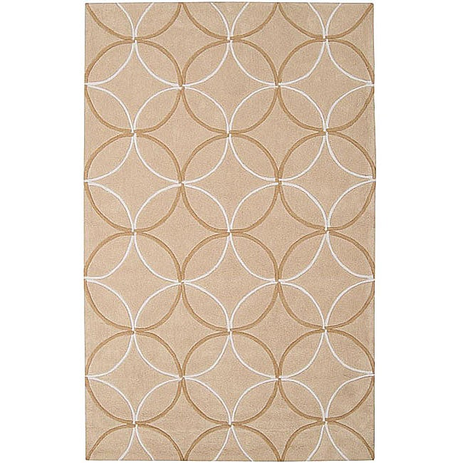 Hand-tufted Contemporary Beige Retro Chic Green Geometric Abstract Area Rug - 5' x 8'