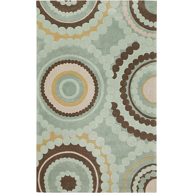 Hand-tufted Contemporary Retro Chic Green Geometric Circles Abstract Rug (8' x 11')
