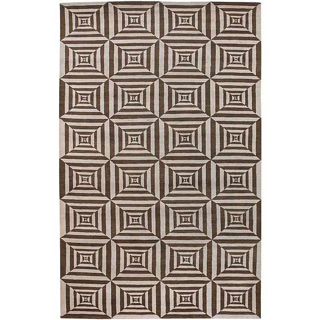 Hand-knotted Valence Brown Wool Area Rug (5' x 8')