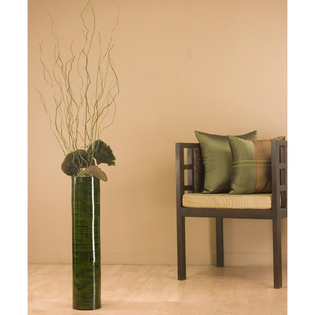 Green Bamboo Curly Willow 25 Inch Cylinder Floor Vase