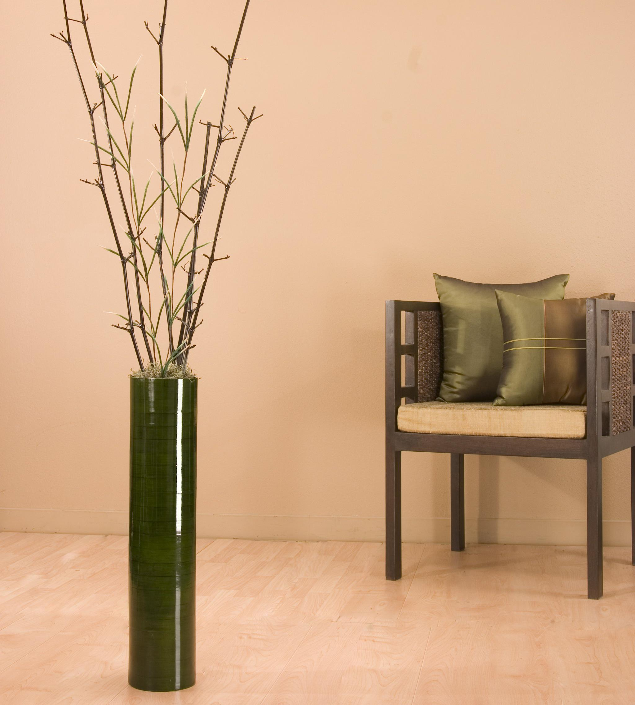 Green Bamboo Mantis 25 inch Cylinder Floor Vase Free Shipping