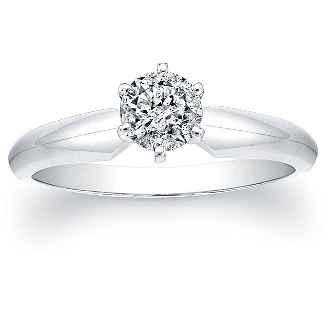 14k White Gold Certified 1/2ct TDW Round Diamond Solitaire Ring - Thumbnail 0