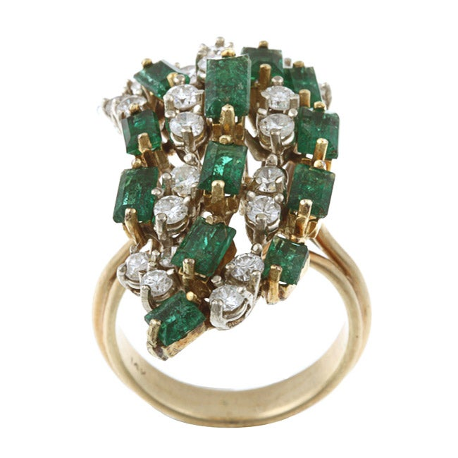 14k Gold 1 3/5ct TDW Diamond and Emerald Estate Ring (I-J, SI1-SI2)