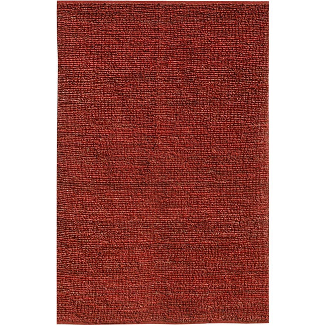 Hand-woven Red Jute Rug (3' 6 x 5' 6)